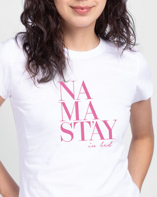 Shop Stay Nama Half Sleeve T-Shirt White-Front