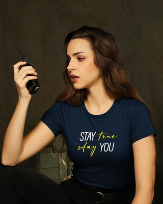 Shop Stay True Half Sleeve Printed T-Shirt Navy Blue-Front