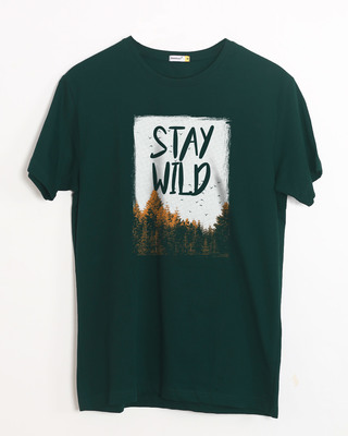 Shop Stay Wild Halftone Half Sleeve T-Shirt-Front