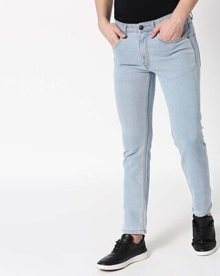 Shop Stone Blue Mid Rise Stretchable Men's Jeans-Front