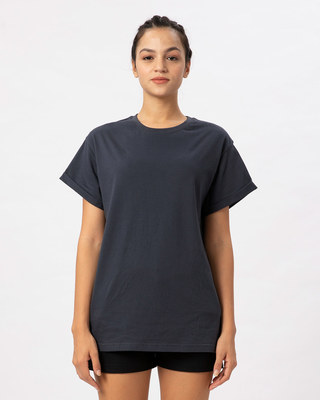 Shop Stone Grey Boyfriend T-Shirt-Front