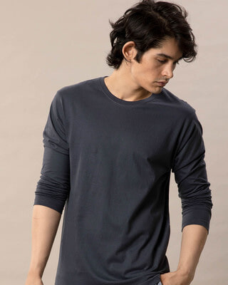 Shop Stone Grey Full Sleeve T-Shirt-Front