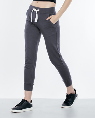 Shop Stone Grey Fleece Joggers-Front