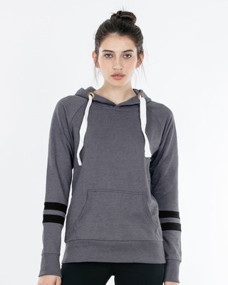 Shop Stone Grey Melange-Jet Black Sports Trim Sweatshirt-Front