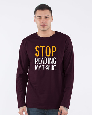 Shop Stop Reading Full Sleeve T-Shirt-Front
