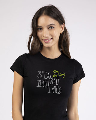 Shop Stop Wishing Start Doing Half Sleeve T-Shirt-Front