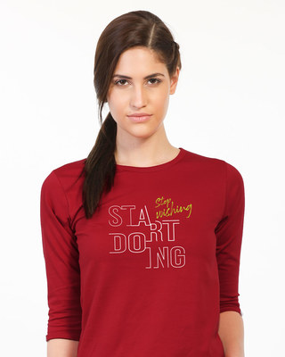 Shop Stop Wishing Start Doing Round Neck 3/4th Sleeve T-Shirt-Front