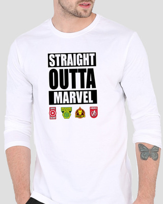 Shop Straight Outta Marvel Men's Printed Full Sleeve T-Shirt-Front