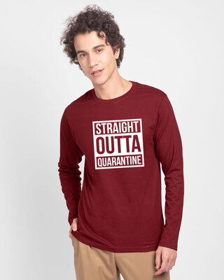 Shop Straight Outta Quarantine Full Sleeve T-Shirt-Front