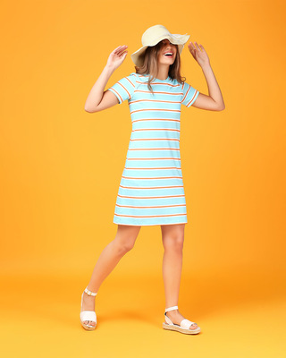 Shop Beach Blue Stripe T-Shirt Dress-Front