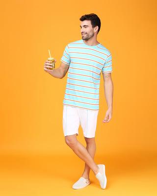 Shop Beach Blue Stripe Half Sleeve T-Shirt-Front