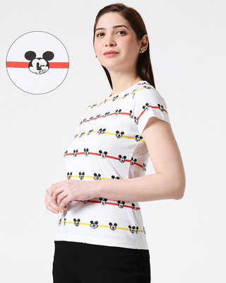 Shop Stripe Mickey Half Sleeves AOP T-Shirt-Front