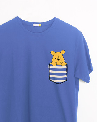 Shop Stripe Pocket Pooh Half Sleeve T-Shirt (DL)-Front