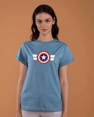 Shop Striped Captain America Boyfriend T-Shirt (AVL)-Front