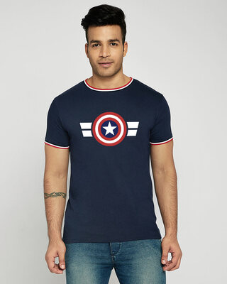 Shop Striped Captain America Crewneck Varsity Rib H/S T-Shirt (AVL)-Multicolor-Front