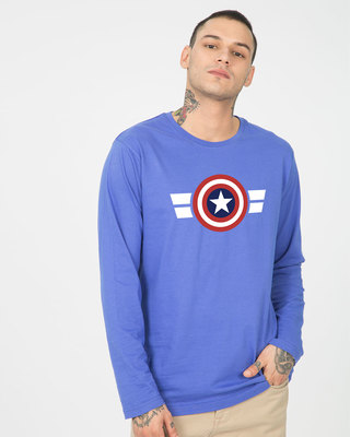 Shop Striped Captain America Full Sleeve T-Shirt (AVL)-Front
