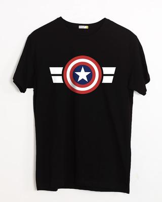 Shop Striped Captain America Half Sleeve T-Shirt (AVL)-Front