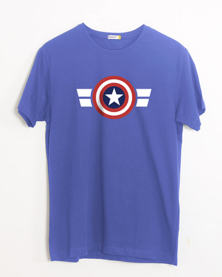 Shop Striped Captain America Half Sleeve T-Shirt (AVL)-Front