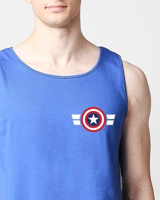 Shop Striped Captain America Printed Badge (AVL) Round Neck Vest-Front