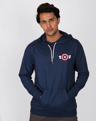 Shop Striped Captain America Printed Badge Fleece Hoodies (AVL)-Front