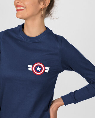 Shop Striped Captain America Printed Badge Fleece Light Sweatshirt (AVL)-Front