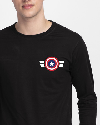 Shop Striped Captain America Printed Badge Full Sleeve T-Shirt (AVL)-Front