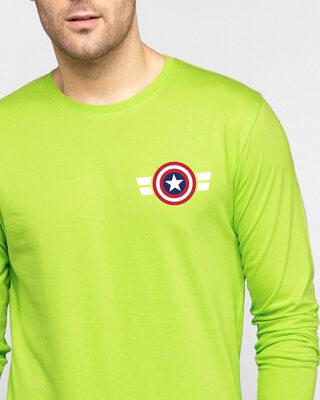 Shop Striped Captain America Printed Badge Full Sleeve T-Shirt (AVL)-Front