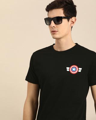Shop Striped Captain America Printed Badge Half Sleeve T-Shirt (AVL)-Front