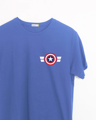 Shop Striped Captain America Printed Badge Half Sleeve T-Shirt (AVL)-Front