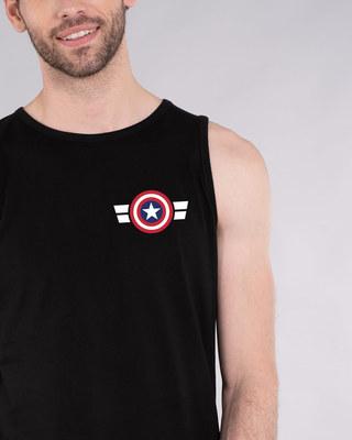 Shop Striped Captain America Printed Badge Vest (AVL)-Front