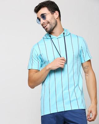 Shop Beach Blue Stripe Half Sleeve Hoodie T-Shirt-Front