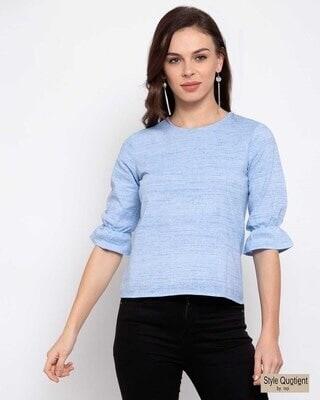 Shop Style quotient Blue Solid Top-Front