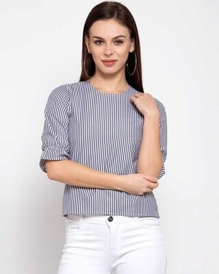 Shop Style Quotient Blue Striped Puff Sleeves Top-Front