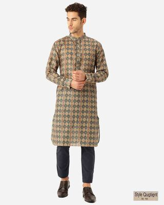 Shop Style Quotient Men Beige & Blue Ethenic Printed Straight Kurta-Front