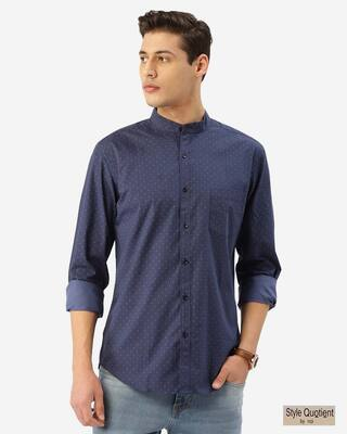 Shop Style Quotient Men Blue & Pink Geometric Print Smart Shirt-Front