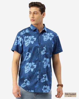 Shop Style Quotient Men Blue Floral Print Boxy Fit Smart Shirt-Front