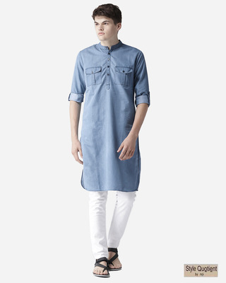 Shop Style Quotient Men Blue Solid Denim Pathani Kurta-Front