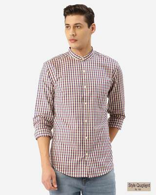 Shop Style Quotient Men Cream-Coloured & Blue Checked Smart Shirt-Front