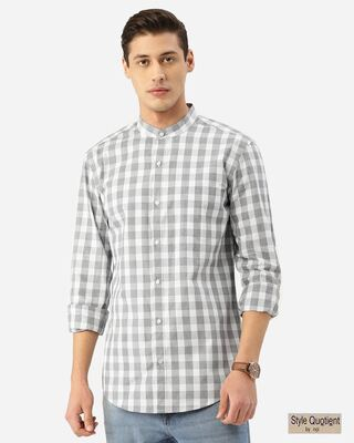 Shop Style Quotient Men Grey & White Checked Smart Shirt-Front