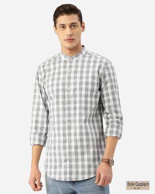 Shop Style Quotient Men Grey & White Checked Smart Shirt-Front