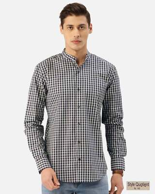 Shop Style Quotient Men Navy Blue & Grey Checked Smart Shirt-Front