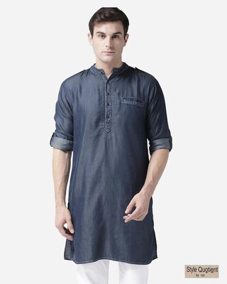 Shop Style Quotient Men Navy Blue Chambray Solid Pathani Kurta-Front