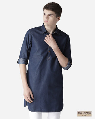 Shop Style Quotient Men Navy Blue Solid Denim Straight Kurta-Front