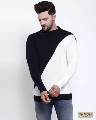 Shop Style Quotient Men Navy Blue Solid Pullover Sweater-Front