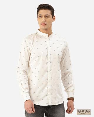 Shop Style Quotient Men Off-White & Brown Horse Print Smart Shirt-Front