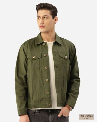 Shop Style Quotient Men Olive Green Solid Denim Jacket-Front