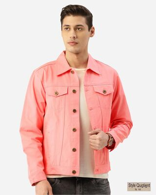 Shop Style Quotient Men Pink Solid Denim Jacket-Front