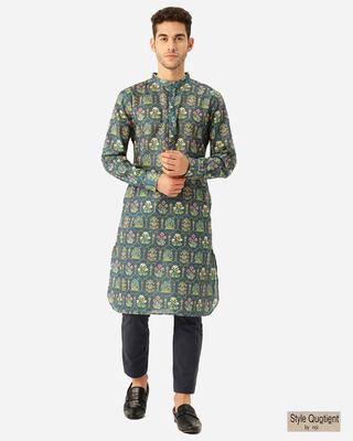 Shop Style Quotient Men Teal Blue & Yellow Ethenic Printed Pathani Kurta-Front