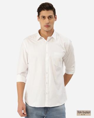 Shop Style Quotient Men White Solid Classic Casual Shirt-Front