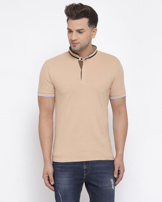 Shop Style Quotient Mens Beige Short Sleeves Casual Tshirt-Front